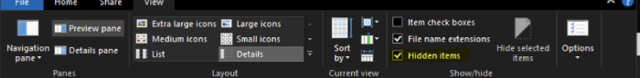 Enable hidden items in Windows from View tab
