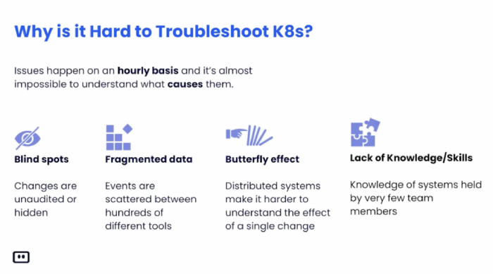 Why is is hard to troubleshoot k8s